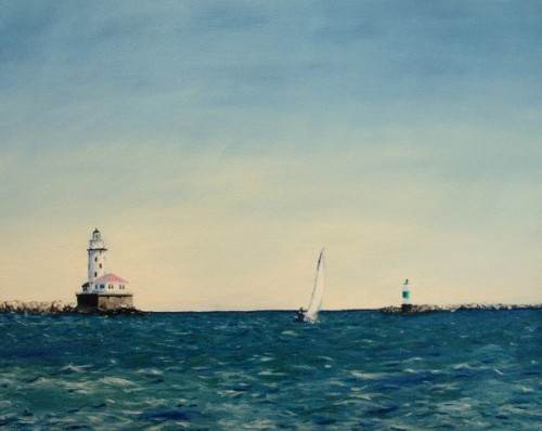 Through the Breakwater, Chicago painting