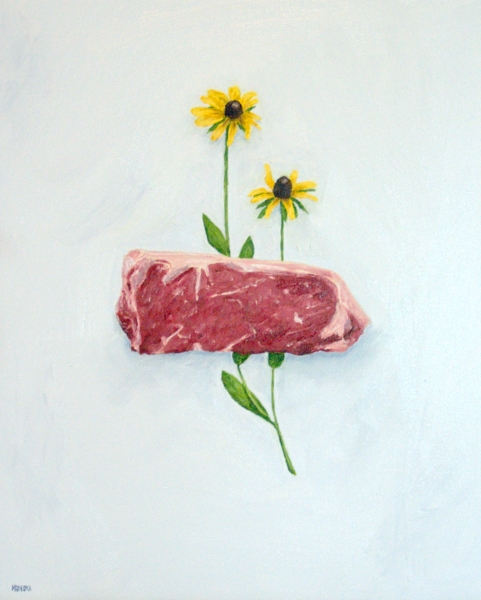 New York Strip with Black-Eyed Susans painting
