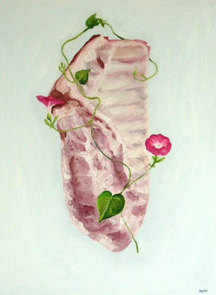 Pork Spare Ribs with Morning Glories painting