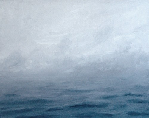 Fog, Lake Michigan painting