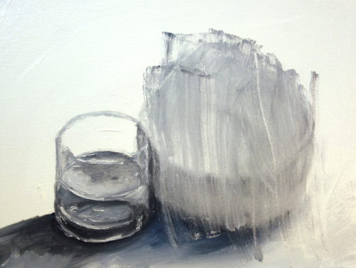 Glass of Water with Bowl Scraped Off painting