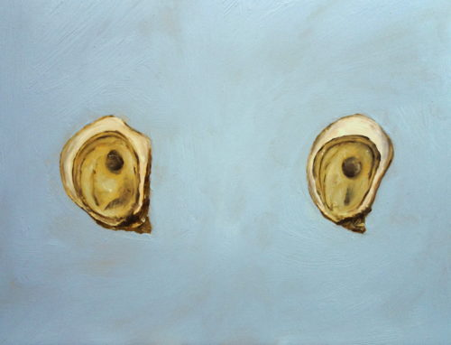 oil painting on panel of two oysters